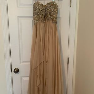 Jovani Champagne Prom Dress